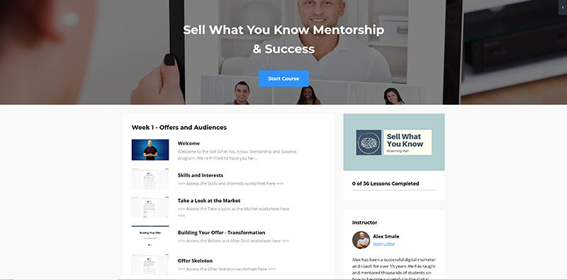 Sell What You Know Online Course Dashboard and course modules