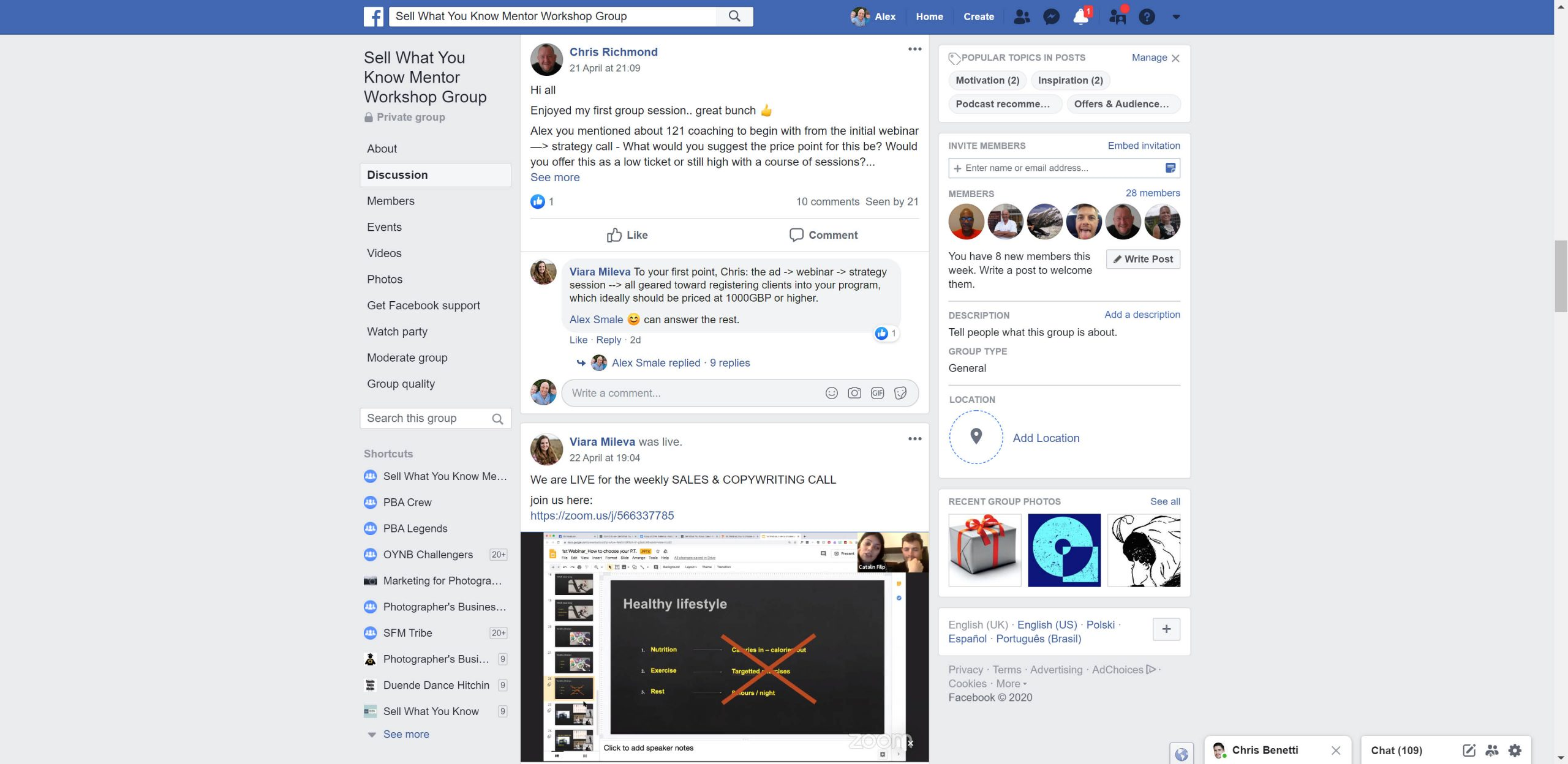 Facebook group of sell what you know online coaching community