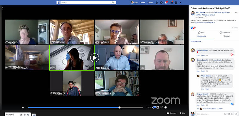 Facebook group streaming a zoom call of online coaching call
